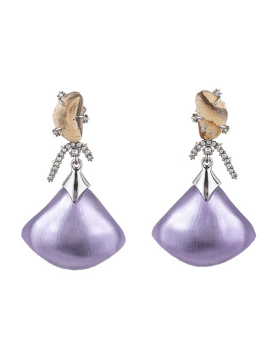 Crystal Maze Fan Dangle Earrings w/ Fancy Stone, Purple