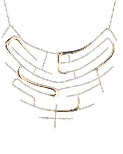 Crystal Encrusted Two-Tone Maze Bib Necklace