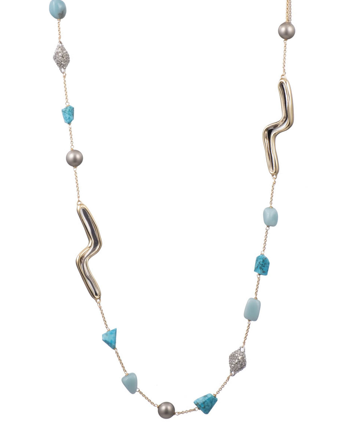 Alexis Bittar Accessories TWO-TONE SCULPTURAL STATION NECKLACE