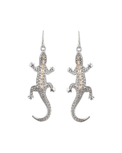 Crystal Encrusted Lizard Wire Earrings