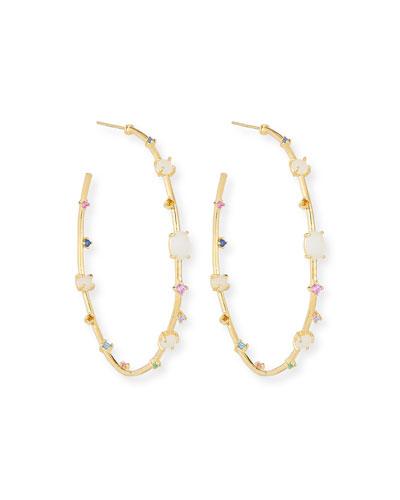 Multi-Stone & Opal Hoop Earrings