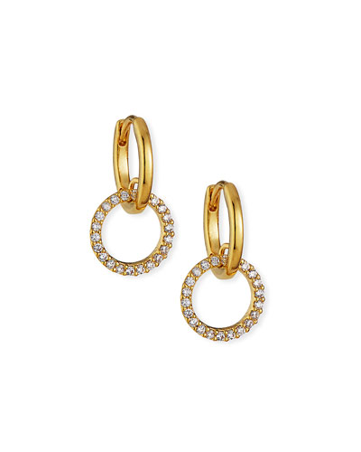 Huggie Earrings w/ Pave Cubic Zirconia Hoop