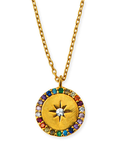 Star & Crystal Round Pendant Necklace