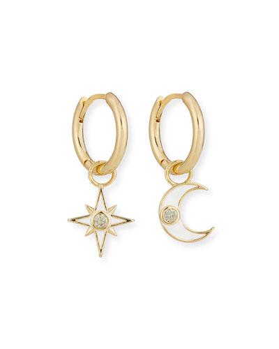 Star & Moon Dangle Hoop Earrings