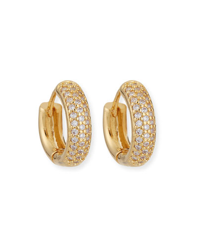 Crystal Pave Huggie Hoop Earrings