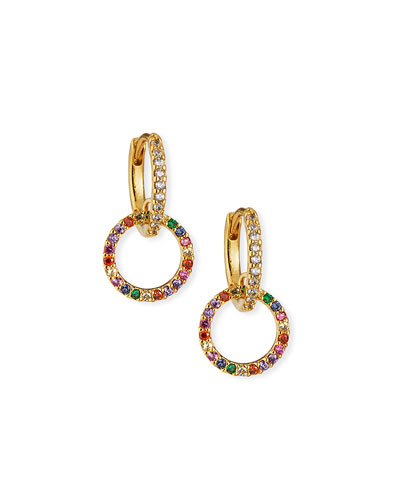 Huggie Earrings w/ Double-Pave Cubic Zirconia Hoop