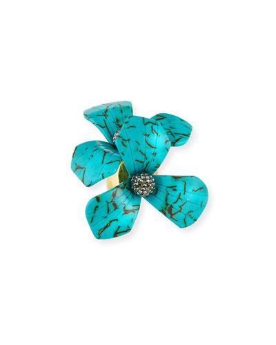 Trillium Bouquet Ring, Turquoise, Size 7