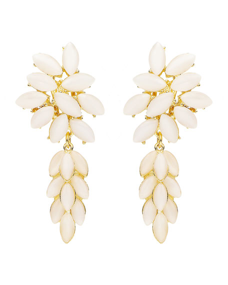 Ben-Amun Floral Stone Drop Clip-On Earrings