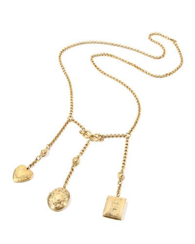 Triple Locket Dangle Necklace, 32