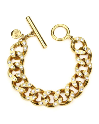 Crystal Curb-Link Chain Bracelet