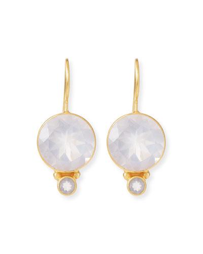 White & Rose Quartz Drop Earrings