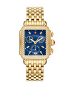 MICHELE Deco Diamond Blue-Dial Watch, Gold