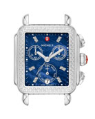 MICHELE Deco Diamond Blue-Dial Watch Head, 18mm