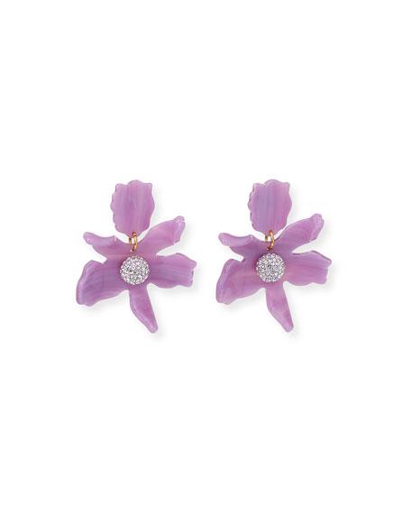 Lele Sadoughi Small Crystal Lily Drop Earrings, Lilac