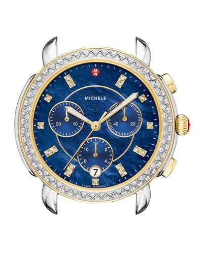 38mm Sidney Diamond Chronograph Watch Head, Blue/Two-Tone