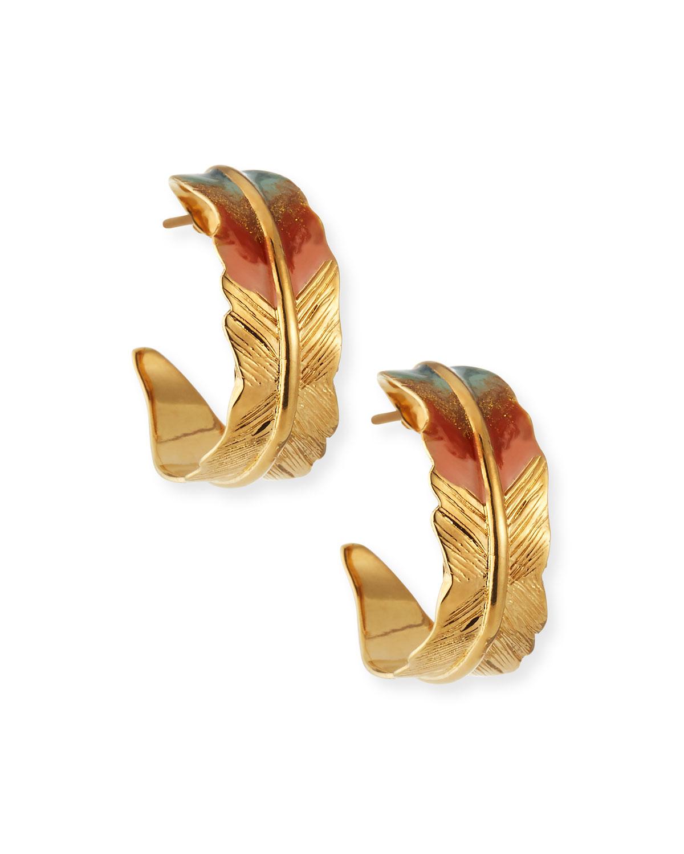 Penna Feather Hoop Earrings