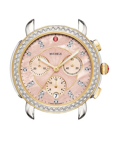 38mm Sidney Diamond Chronograph Watch Head, Pink/Two-Tone