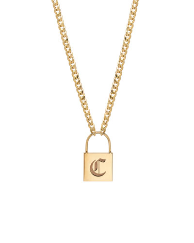 14k Large Engraved Initial Padlock Necklace