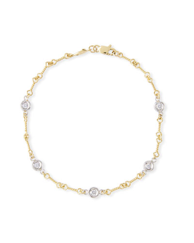 Two-Tone 18k 5-Diamond Dog Bone Bracelet