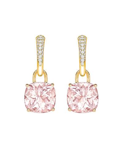 Kiki Classics 18k Gold Morganite & Diamond Tapered Hoop Earrings