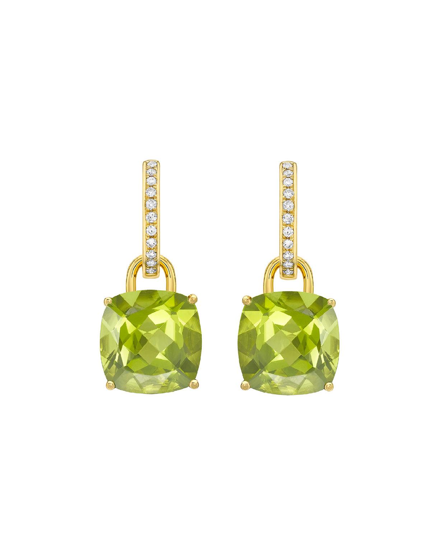 Kiki Classics 18k Gold Peridot Drop & Diamond Hoop Earrings