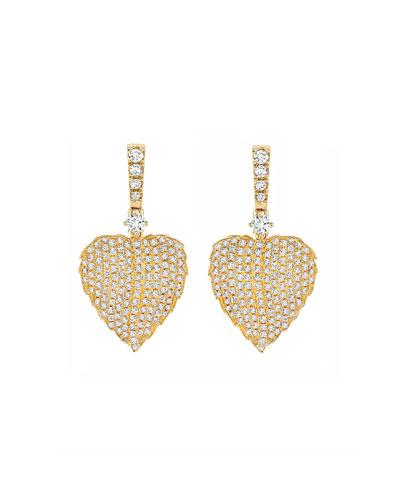 Lauren 18K Gold Full Diamond Leaf Drop Earrings