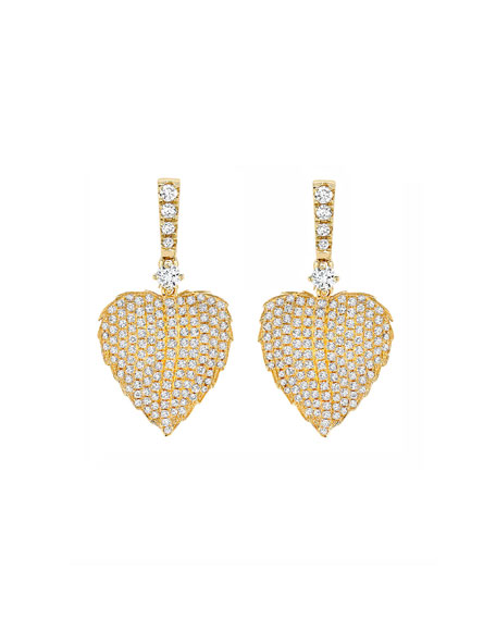 Kiki McDonough Lauren 18K Gold Full Diamond Leaf Drop Earrings