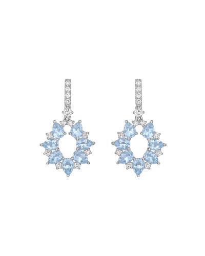 Juno 18K White Gold Blue Topaz & Diamond Earrings