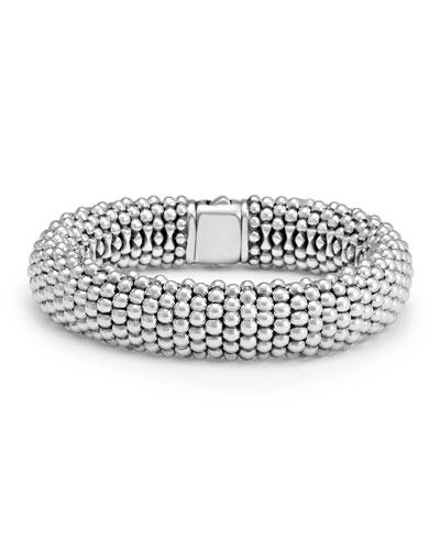 Silver Caviar Oval Bracelet, 15mm