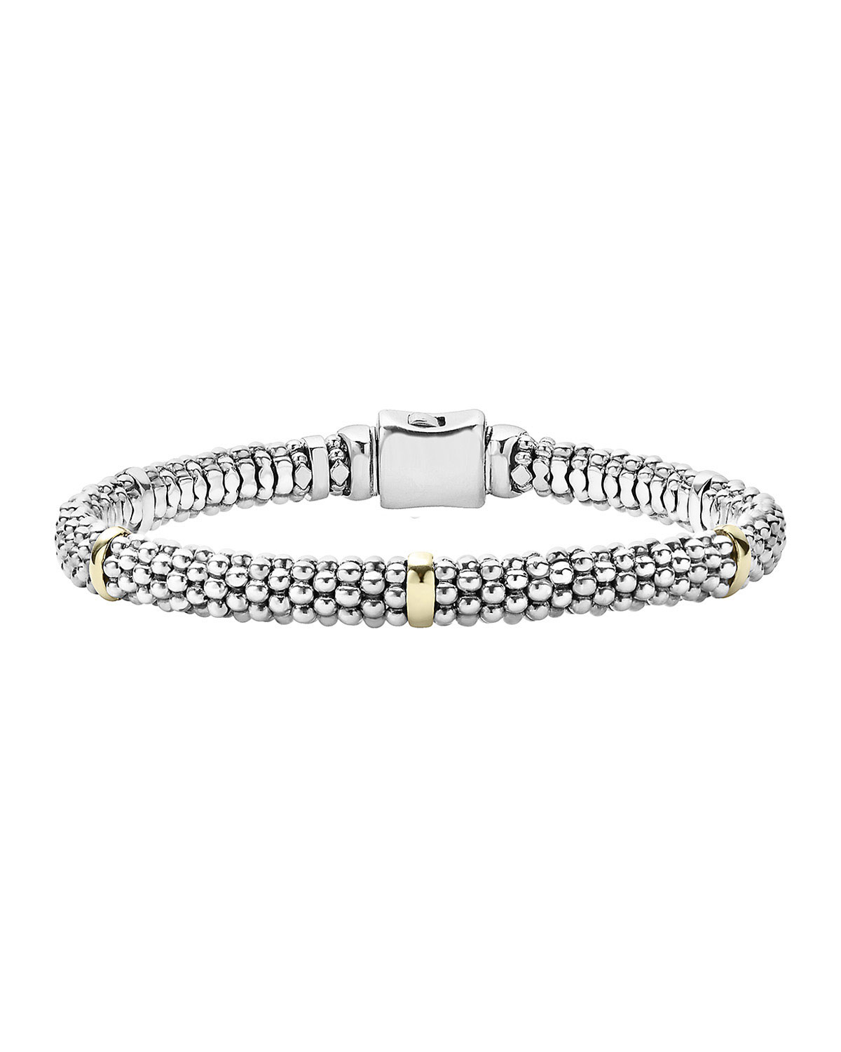 Lagos Signature Silver Caviar Bracelet with 18k Gold, 6mm