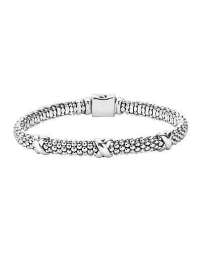 Silver X Rope Bracelet, 6mm