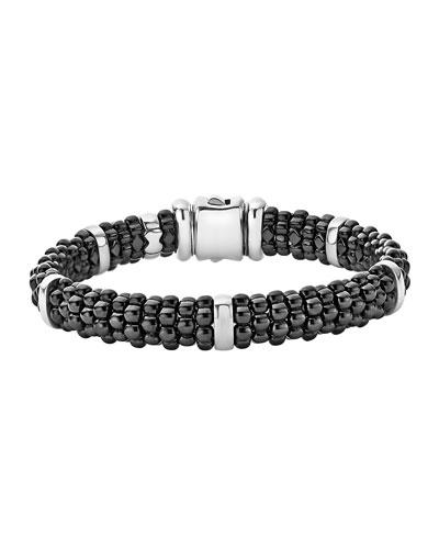 9mm Black Caviar Ceramic Rope Bracelet, Size Medium