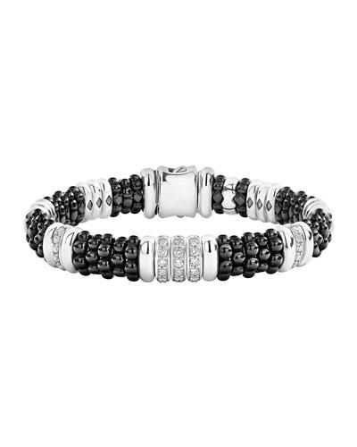 Black Caviar Diamond 3-Link Bracelet - 9mm, Size S