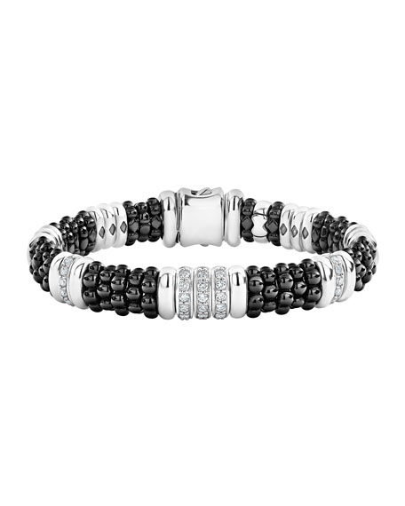 Lagos Black Caviar Diamond 3-Link Bracelet - 9mm, Size S