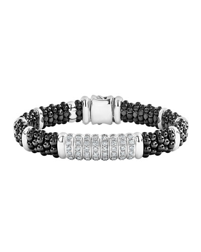 Black Caviar Diamond 8-Link Bracelet - 9mm