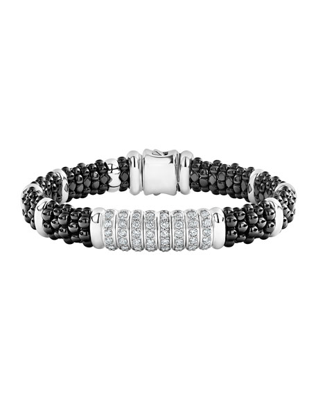 Lagos Black Caviar Diamond 8-Link Bracelet - 9mm