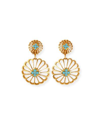 Large Circular Clip-On Drop Earrings
