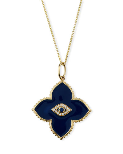 14k Enamel Flower Pendant Necklace w/ Diamond Evil Eye