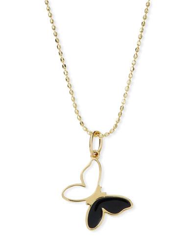 14k Black & White Enamel Butterfly Pendant Necklace