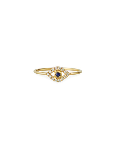 14k Diamond Pave Evil Eye Ring, Size 6.5