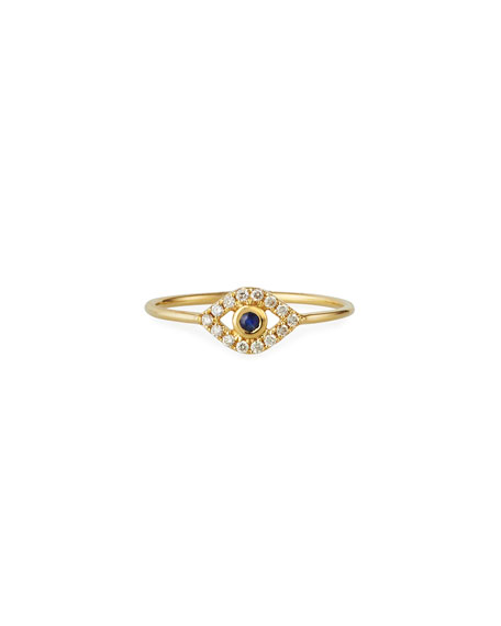 Sydney Evan 14k Diamond Pave Evil Eye Ring, Size 6.5
