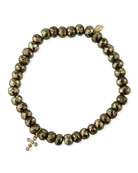Sydney Evan 14k Diamond Cross & Pyrite Bead