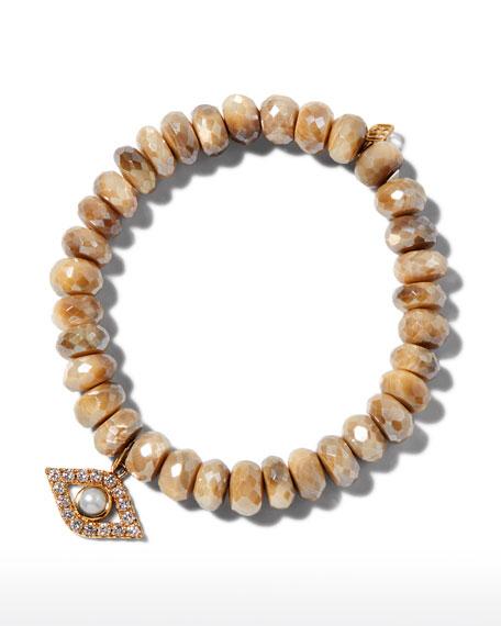 Sydney Evan 14k Diamond & Pearl Evil Eye Bracelet w/ Moonstones