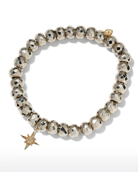 Sydney Evan 14k Diamond Starburst & Pyrite Bead Bracelet