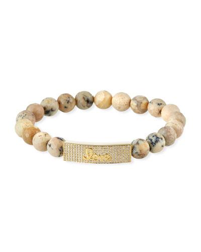 14k Diamond Love & African Opal Bracelet
