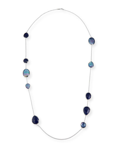 Rock Candy Long Multi-Stone Necklace in Royal, 42