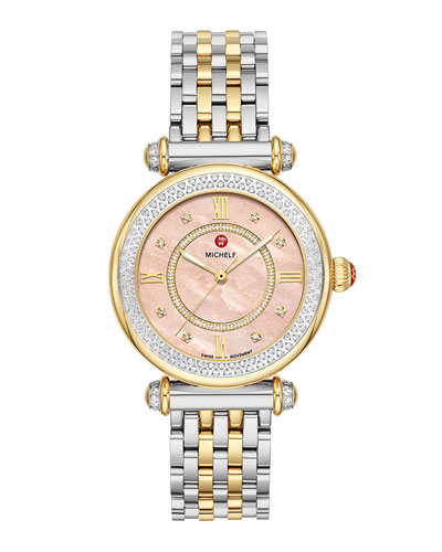 35mm Caber Mid Two-Tone Diamond Watch, Pink