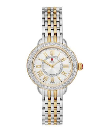 Serein Petite Two-Tone Diamond Watch, Gold/Steel