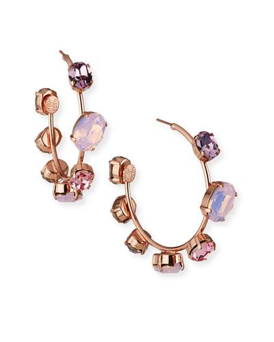 Jenny Crystal Hoop Earrings, Rose
