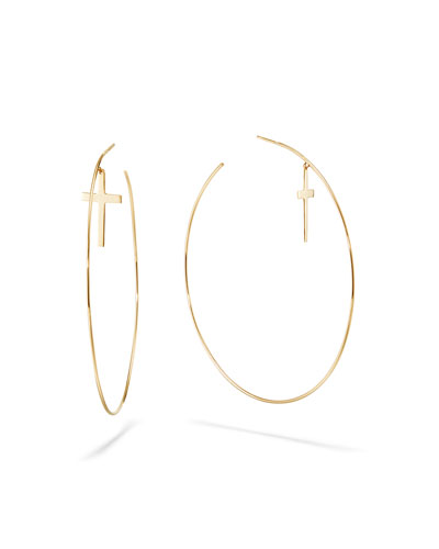 14k Cross & Wire Hoop Earrings